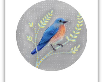 BLUEBIRD GIFT / Blue Bird Print / Bluebird Print / Pretty Bluebird Art Gift / Bluebird Decor / Blue Print / Bluebird Illustration