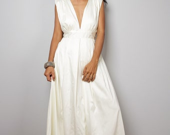 Off White Maxi Dress - Long Formal Ivory dress    : Oriental Secrets Collection IIs