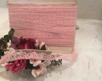 Vintage Pale Pink Cotton Lace,  Pink Lace Yardage,  Vintage Craft Supplies, Vintage Sewing Supplies