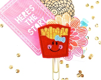 Felt Fridge Magnet, Brooch or Paper Clip Planner - French Fries Feltie.  Bookmark Clip, Journal Markers.  Planner accessories Party Favors
