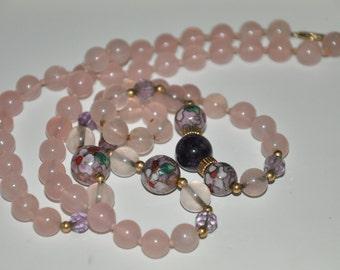 Vintage Cloisonné & Rose Quartz necklace