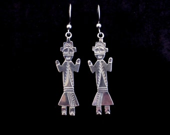 Navajo Earrings Sterling Silver M Willie Joe Delgarito