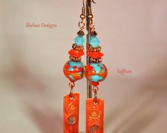 Orange and Turquoise Earrings,Dangle Earrings,Lampwork Earrings,Enamel Earrings,South Western Earrings - SAFFRON