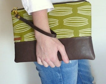 Clutch - women's moss green printed and brown rich leather wristlet clutch -gift for mom- gift for her-aseismanos