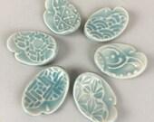 6 Ceramic Spoon / Chopsticks Rests - Aqua Blue