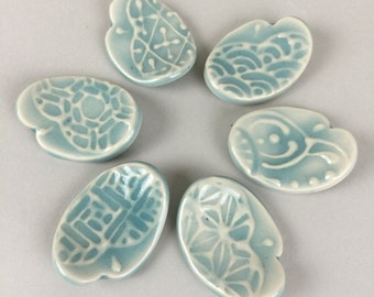 6 Ceramic Spoon / Chopsticks Rests - Aqua Blue