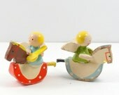 Carved Painted Wooden Miniature Angel Dolls Rocking Horse Vintage 1950s
