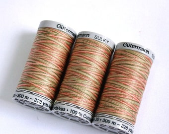 Variegated cotton thread, Gutermann variegated Sulky cotton, multicoloured sewing and embroidery thread, Shade 4026
