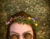 Festival flower crown coachella purple yellow EDM EDC summer spring boho wedding bridesmaid