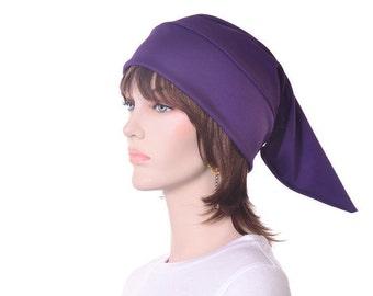 Deep Purple Sleep Cap Traditional Pointed Nightcap  Jersey Knit Night Cap Purple Elf Hat  Unisex Poor Poet