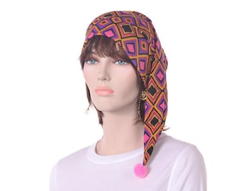 Sleep Hat Jersey Knit NightCap Psychedelic Aztec Geometric Design Elf Cap Women Night Cap Chemo Hat Poor Poet Hat