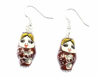 [BUNDLE] Matryoshka earrings Babushka Russian doll Brown