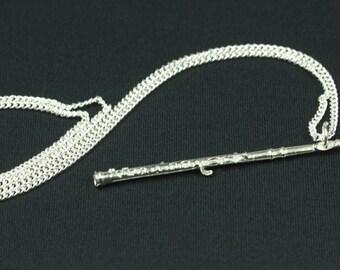 Flutes chain flute flutes necklace of Miniblings flutist silver 60 cm long