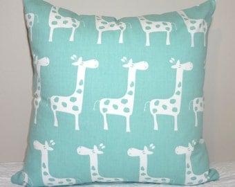 Decorative Pillow Canal Blue & White Giraffe Pillow Nursery Baby Pillow Covers Animal Print Nursery All Sizes