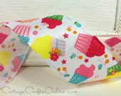 "SALE! Wired Ribbon, 2"",  Pink, Yellow, Blue Cupcake Print Taffeta  - THREE YARDS - Offray ""Celebration""  Wire Edged Ribbon"