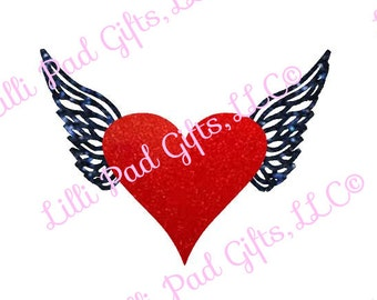 Heart with Wings - Cut File - Instant Download - SVG and DXF for Cameo Silhouette Studio Software & other Cutter Machines
