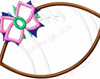 Football-Bow - Applique - Machine Embroidery Design - 9 sizes