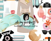 Cute Breakfast at Tiffanys  Clipart  Png files for Small CU like Planner Stickers Custom Card Template flowers food telephone shoes makeup