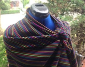 Black Mexican Rebozo  - 3 yard Black Aztec Shawl - Boho Style Accessories - Doula Tools and Training -DIY Baby Wearing
