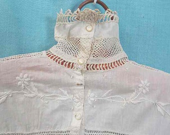 Antique Victorian Edwardian White Blouse Long Sleeves Lacy – Size S