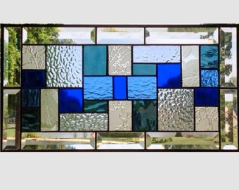 Bevel Stained glass panel window hanging geometric blue clear stained glass window panel suncatcher transom 0156 19 1/4 x 10 1/4