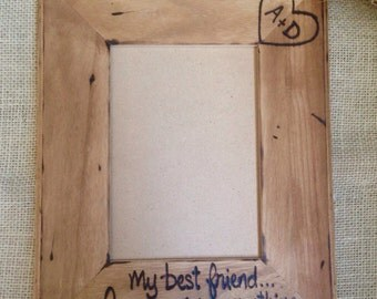 Wedding Frame personalized for the couple with initials & cuztom saying WALNUT stained 5 x 7 Anniversary Engagement