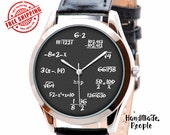 Graduation Gift, Math on Grey Watch, Wrist Watch Woman, Mens Wristwatch, Birthday Gifts for Men, Teacher Gifts, Unisex Watch - Free Shipping