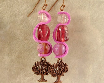 Leather, Glass, and Metal Earrings - LE15