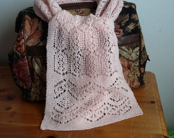 Handknitted pink  shetland lace scarf