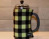 French Press Coffee Cozy Lime Green & Black Buffalo Plaid Flannel French Press Wrap in Buffalo Check Plaid
