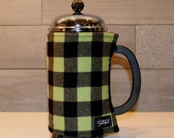 French Press Coffee Cozy Lime Green & Black Buffalo Plaid Flannel French Press Wrap in Buffalo Check Plaid