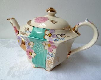 Art Deco, 1940's Orient Influenced Design China Tea Pot, Pagoda Shaped, Trellis, Flowers and Gilding, Hand Painted Tea Pot