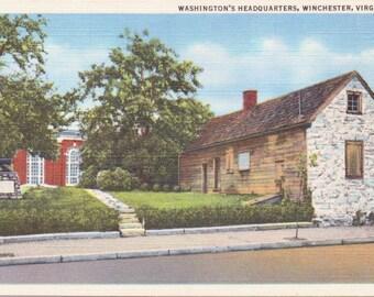 Winchester, Virginia, Washington's Headquarters - Linen Postcard - Unused (A5)