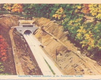 Pennsylvania Turnpike, Tuscarora Mountain - Linen Postcard - Unused (X)