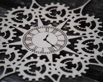 Steampunk Gear & Clock Snowflake Ornament. Laser Cut. Christmas, Holiday Decoration, Gift. Mom, Dad