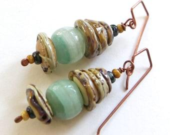 Handmade, Rustic, Organic, Nature Earrings - Artisan Glass Bead, Vintage Glass Bead, Czech Glass Beaded Earring