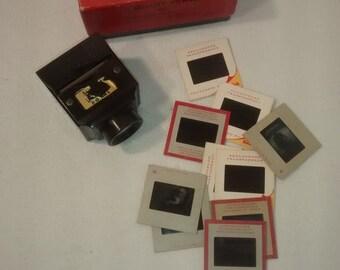 Valentine SALE Vintage ZADIIX , Bakelite Slide Viewer , 35mm w Original Box and 10 slides