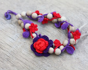 SALE Red purple necklace Floral jewelry Chunky wooden necklace with crochet leaves Statement Handcrafted jewelry