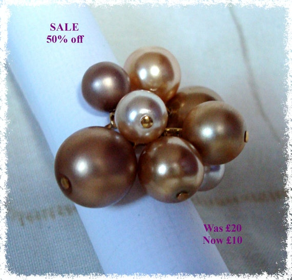 SALE - Faux Pearl Cluster Ring - Gold