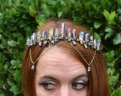 Golden Goddess, rainbow aura quartz crystal crown, gold chain crystal headpiece, raw quartz crystal crown, crystal headdress