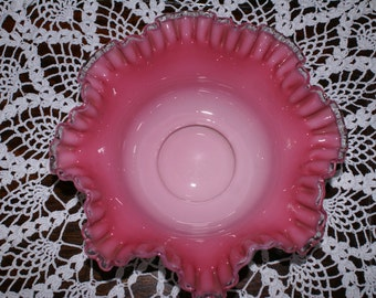 CRANBERRY RUFFLED EDGE Bowl, Fenton Style