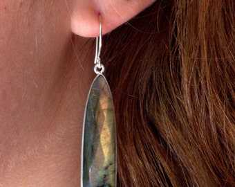 Labradorite Silver Jewelry, Blue Gemstone Jewelry, Silver Labradorite Earrings, Blue Dangle Drop Earrings, Sterling Silver Drop Earrings