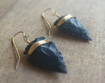 Arrowhead Earrings - Black and Gold Jewelry - Native American - Southwestern - Everyday