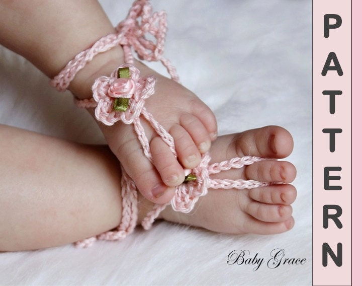 Free Crochet Patterns For Baby Boy Hat And Booties : Crochet Sandals PATTERN Baby Barefoot Sandals Easy Crochet