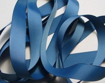 """5/8"""" Grosgrain Ribbon - Smoke Blue"""