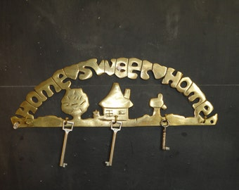Large Vintage Brass Home Sweet Home Key Hook Holder Rack Wall Entry Way Organizer-Wall Mount