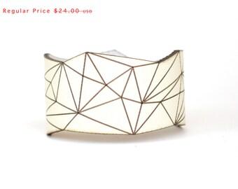 leather cuff bracelet - Slim Geometric Triangle Cuff in Creme Leather with Snaps - modern design, laser cut SALE