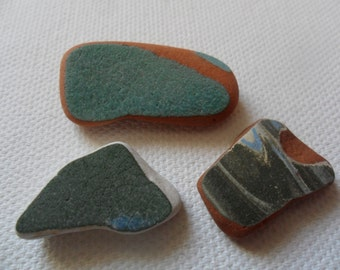 3 very pretty & unusual green sea pottery - Lovely English beach find pieces from Lancashire, UK