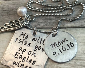 He will raise you up.. Personalized memorial necklace , hand stamped stainless steel