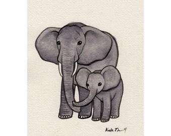 Elephants Original Painting / Watercolor Painting / Nature Art / Wildlife Painting / OOAK Painting